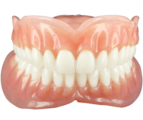 Full set of acrylic dentures with natural looking gums